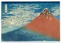Katsushika Hokusai (1760–1849), Clearing weather, South wind (Gaifu kaisei) (also known as Red Fuji), color woodblock print.