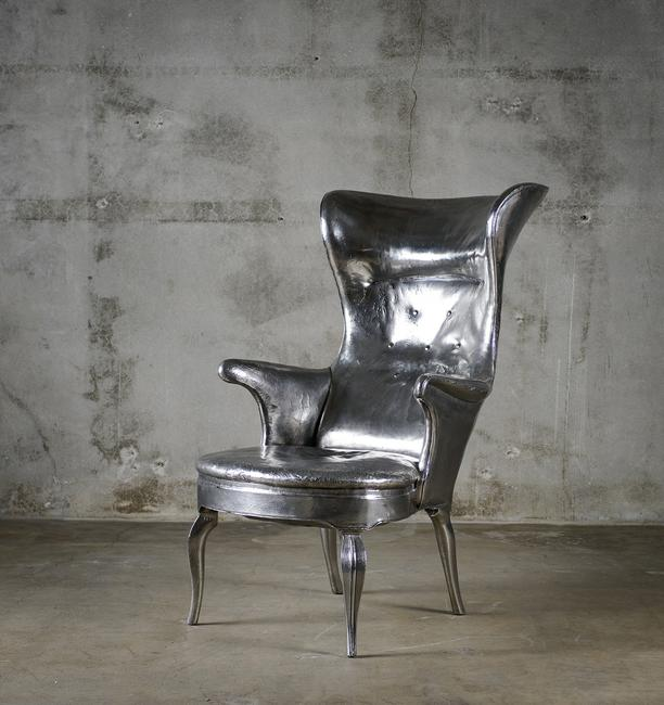 Cheryl Ekstrom, artist's proof of a Frits Henningsen High-back Wing Chair in Stainless Steel