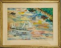 One of two watercolors, done in 1960 by John F.  Kennedy, before he became President.