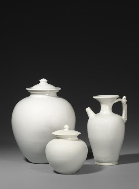 Large Covered Jar, Ewer, and Small Covered Jar; Xing and Ding kilns, Tang Dynasty (A.D.  618–907)