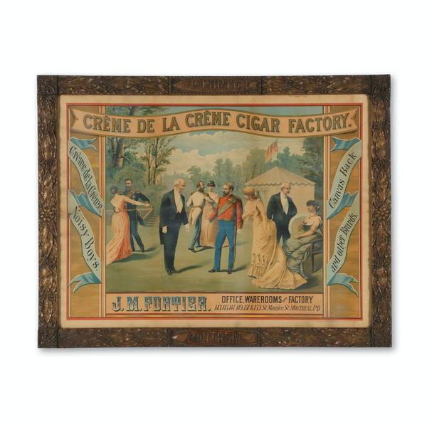 "Canadian J.M.  Fortier Cigar framed lithograph from the 1890s, in a 35 ½ inch by 27 ½ inch gilt plaster frame, marked ""Heffron & Phelps, Lithographers"" (N.Y.) (CA$3,000)."