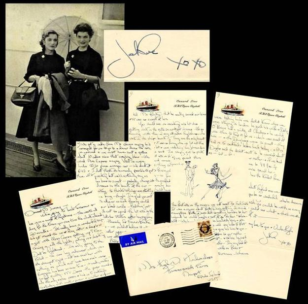 Six-page letter hand-written by Jackie (Bouvier) Kennedy to her mother in 1951, when she was in college, aboard the Queen Elizabeth ship, written on Cunard Line stationery, with illustrations (est.  $30,000-$35,000).