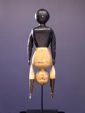 From exhibitor Just Folk is this Topsy Turvy Doll, Circa 1900.  Carved wood with polychrome and fabric.  Signature work from the Mendelsohn Collection, one the most important collections of American Folk Art in the country.