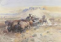 Charles M.  Russell (1864–1926) Wild Man's Meat, 1899 Watercolor, opaque watercolor, and graphite on paper Courtesy Sid Richardson Museum, Fort Worth, Texas