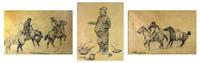 These three very rare pencil sketches by C.M.  Russell will be offered at Clars Auction Gallery for the first time on Sunday, February 19th, 2012.  (Estimate: $60,000 to $80,000)