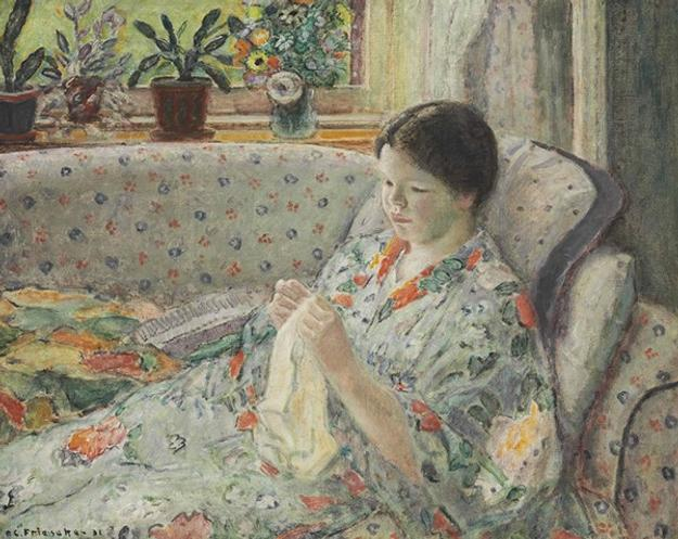 "Frederick Carl Frieseke (American, 1874–1939), ""Girl Sewing (The Chinese Robe),"" 1931.  Oil on canvas.  Georgia Museum of Art, University of Georgia; Museum purchase with funds provided by the Chu Family Foundation.  GMOA 2015.316"