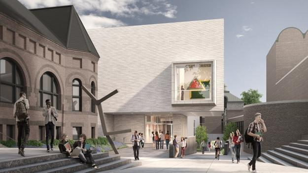 Artist rendering of the north façade of expanded Hood Museum of Art.  (Image courtesy of Tod Williams Billie Tsien Architects)