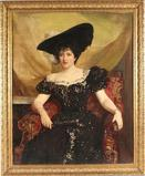 An oil-on-canvas portrait of Lady Randolph Churchill by John Singer Sargent.