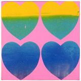 "Andy Warhol, Four Hearts, 1983.  Silk screened ink and diamond dust on canvas 14 x 14 in.  Signed on canvas on reverse upper right ""Andy Warhol 1983"".  From Leila Heller Gallery."