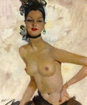 Jean Gabriel Domergue, La Danseuse du Lido, circa 1930, oil on canvas, 25 5/8 high x 21 1/4 wide