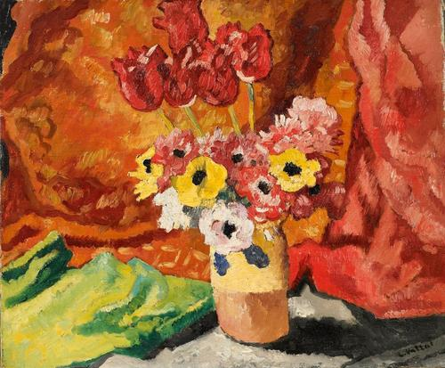 LOUIS VALTAT, Vase de Fleurs, Oil on canvas, 21 3/8 x 25 ¾ inches (54.3 x 65.4 cm), Schiller & Bodo European Paintings