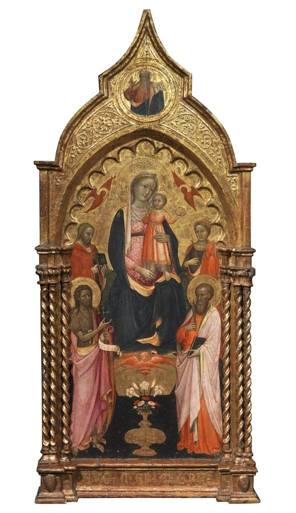 Rosello di Jacopo Franchi (Florence, c.1376-1456) The Virgin and Child in Glory between Saint Paul, Saint John the Baptist, Saint Bartholomew the Apostle and Saint Catherine of Alexandria Tempera on panel 138 x 62 cm, painted surface: 92 x 44 cm