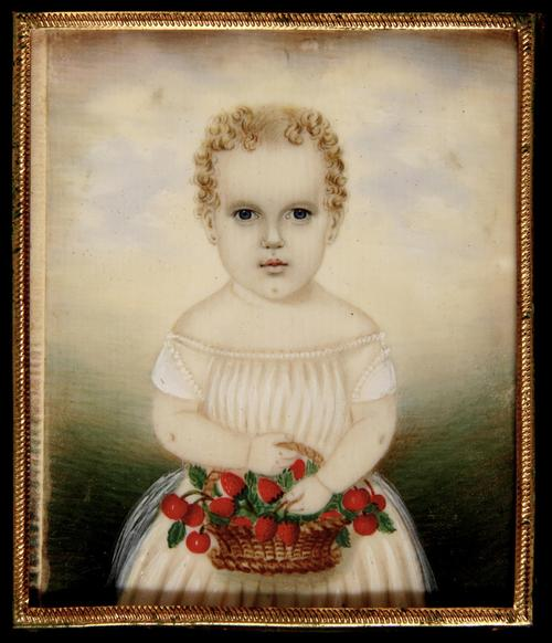 Miniature Portrait of a child holding a basket of strawberries, by Mrs.  Moses B.  Russell.  Boston, c.1845.  Joan R.  Brownstein and Peter H.  Eaton at Winter Antiques Show.