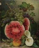 WILLIAM MASON BROWN (AMERICAN, 1828-1898) STILL LIFE WITH WATERMELON, FRUIT AND CALLA LILIES (Lot 8) fetched $59,520.