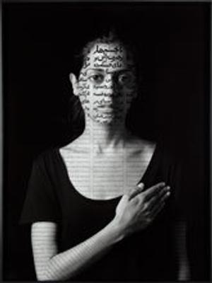 Shirin Neshat (Iran, b.  1957), Roja, 2012.  Gelatin silver print with India ink.  Museum of Fine Arts, Boston, Charles Bain Hoyt Fund and Francis Welch Fund.  Photography.  © 2014 MFA, Boston