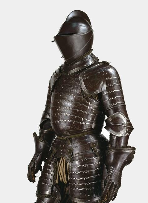 Suit of Armor, Italian, 1540–1550.  Steel, leather, fabric, wood; 74 13/16 × 29 1/2 × 19 11/16 in.  On loan from Museo Stibbert, Firenze, Inv.  no.  3959.