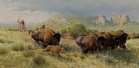 John Clymer (1907-1989) Buffalo Chase, oil on canvas, 10 x 20 in., $75,000/$125,000