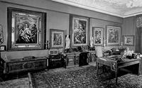 View of El Greco paintings hanging in Baron Mor Lipot Herzog's study before World War II.