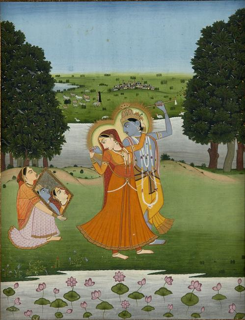 "Kapoor Galleries will show ""Radha and Krishna with Mirror."" India, Jaipur, c.  1830.  Gouache and gold on paper, 9 1/2 x 7 1/2 in."
