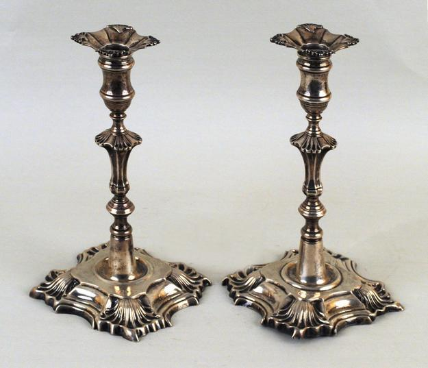 Pair Georgian Rococo Sterling Candlesticks