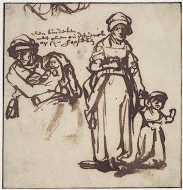 Rembrandt van Rijn, Dutch, 1606 – 1669: Studies of a Woman and Two Children, c.  1640; reed pen and finger rubbing in dark brown (iron-gall) ink, 5-3/8 x 5-13/64 in.  Ackland Art Museum, The University of North Carolina at Chapel Hill, The Peck Collection.