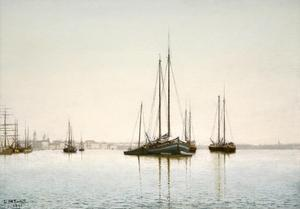 Lockwood de Forest, Venetian Harbor, 1891, Oil on Canvas, 17 x 24 inches, Signed lower left: L de Forest 1891