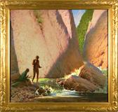 "Frank Vincent Dumond (1865-1951), ""Canyon Pool"", ca.  1940 Oil on canvas, 28 1/2 x 30 in., signed"