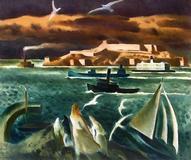 Millard Sheets, San Francisco Bay, Oil On Canvas.