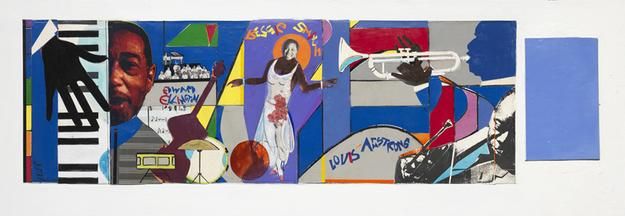 Romare Bearden, Bessie, Duke, and Louis, c.  1981, Collage on fiberboard, 12 ¼ x 43 in.