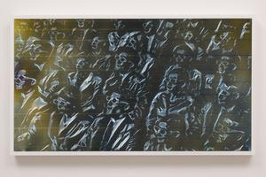 Matthew Brandt, LCD 55.2, 2015, plastic resin on plastic with polarization lenses in LED lightbox frame, 27-1/4 x 48-1/4, 2-3/4 inches, unique