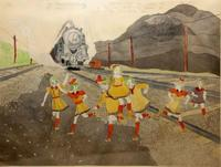 """Henry Darger, Jenny and her Sisters are Nearly Run Down by Train, watercolor,pencil on paper,18x24"""""""