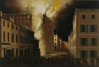 "John Ritto Penniman (American, 1782-1841) Boston's Exchange Coffee House Burning of 1818.  Boston, 1824.  Signed and dated lower right, ""J R Penniman Pinxt 1824."" Oil on canvas.  27 3/8 x 41 5/8 inches"