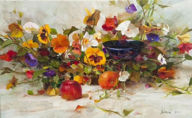 Richard Schmid, Pansies and Blue Cup.