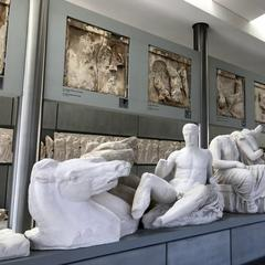 Plaster copies of Parthenon pediment sculptures at the Acropolis Museum stand in for original pieces that remain at the British Museum.