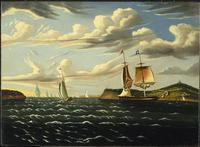Thomas Chambers, Staten Island and the Narrows, painted between 1833 and 1857, oil on canvas, 55.8 × 76.9 cm (22 × 30.3 in).  Brooklyn Museum.
