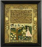 Fine and Rare Needlework Sampler, Betsey Gail, Marblehead, Massachusetts, circa 1790, Betsy Gail.  Est.  $60/80,000