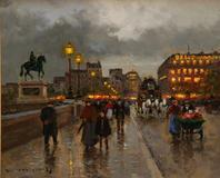 Oil on canvas, Parisian street scene by French artist Edouard Cortes (est.  $30,000-$40,000).
