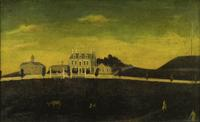 American School, Mid-18th Century.  View of the John Hancock House, Beacon Hill, Boston (Fireboard / Overmantel).  Est.  $150/250,000.