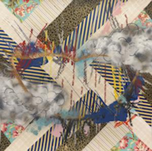 anford Biggers, QC #15, 2013; Textiles and fabric treated with acrylic and spray paint on archival paper, 48 x 48 inches; image courtesy of Monique Meloche Gallery, Chicago, IL