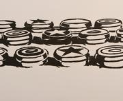 Wayne Thiebaud, Yo-Yos, woodcut, second state, artist's proof, 1964.  Promised gift of the artist.  Art © Wayne Thiebaud/Licensed by VAGA, New York, NY