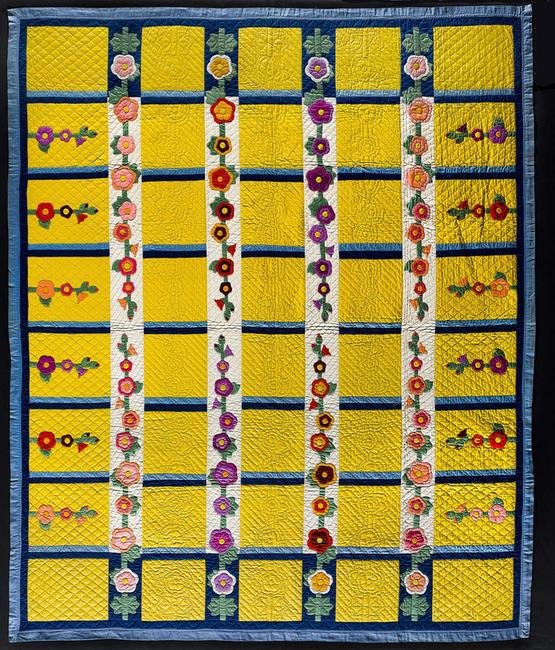 "HOLLY HOCKS QUILT by Eva G.  Rex (dates unknown) United States.  Dated 1944.  Cotton 96 x 81"".  American Folk Art Museum, New York, gift of Cyril Irwin Nelson, 2004.14.5."