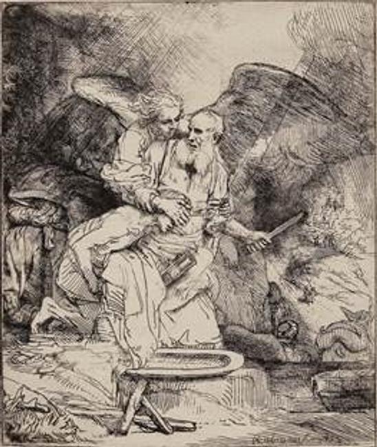 Rembrandt, Abraham's Sacrifice, 1655.  B.  35, I/I (White & Boon only state); H.  283.  Etching on laid paper with pen and ink ruled lines, 6 1/8 x 5 ¼ in.