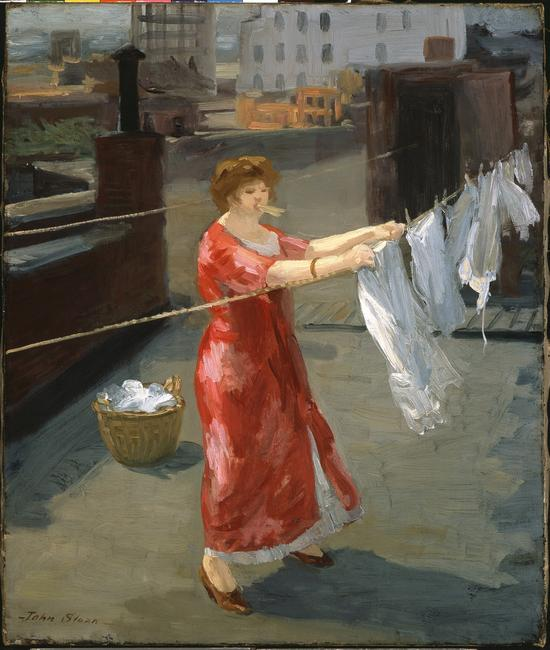 "John Sloan, ""Red Kimono on the Roof,"" 1912, oil on canvas, 24 x 20 inches.  Indianapolis Museum of Art at Newfields, James E.  Roberts Fund, 54.55."
