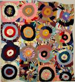 'TARGETS' VINTAGE PIECED QUILT- circles of folded layered triangles resembling a Sonia Delauney.