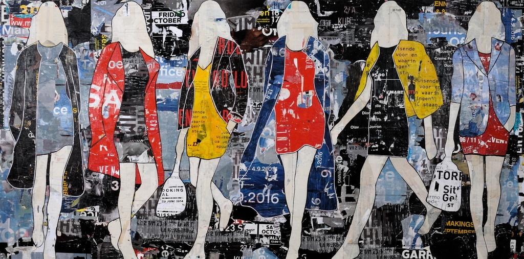 "Jane Maxwell.  ""Billboard Walking Girls."" Mixed Media with Resin on Panel.  60"" x 120"""