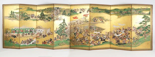 A Fine Japanese Eight Panel Painted Paper Screen dating from the Edo Period