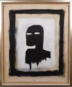 Acrylic on canvas portrait attributed to Jean-Michel Basquiat (Am., 1960-1988), titled Silhouette on Black and White Background, 33 inches by 24 ¾ inches (framed) (est.  $75,000-$100,000).