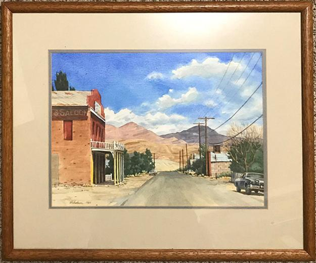 Watercolor painting of Dayton, Nevada, done in 1984 by artist Jeff Nicholson, known for his renderings of the high desert of the West, particularly of Nevada ($1,000).