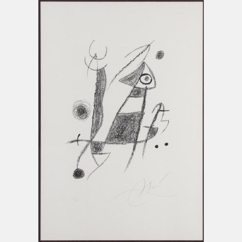 Black and white lithograph signed and numbered (XIV/XV) by Joan Miro (Sp., 1893-1983) (est.  $3,000-$5,000).