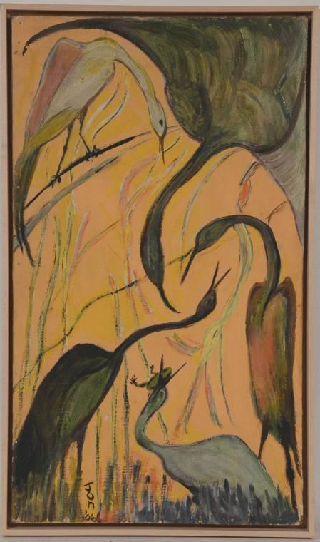 Framed oil on board painting by Jon Serl (American, 1894-1993), titled Stilts, signed lower right and dated 1966.